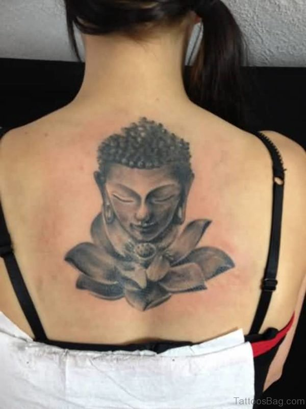 Innovative Buddha And Lotus Flower Tattoo On Upper Back