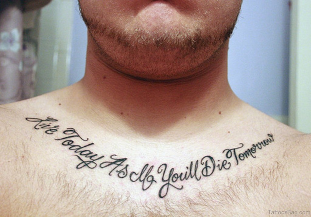 40bc2ae8f 75 Adorable Wording Tattoos For Chest