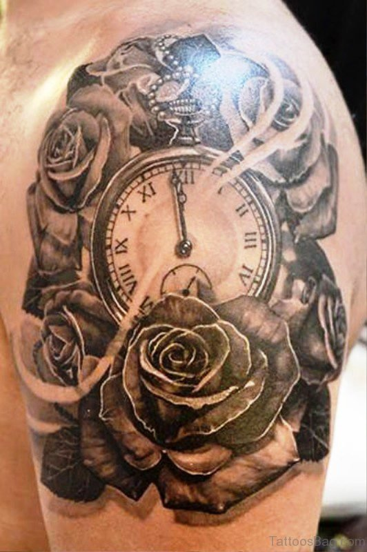 Interesting Clock Tattoo Design 8057