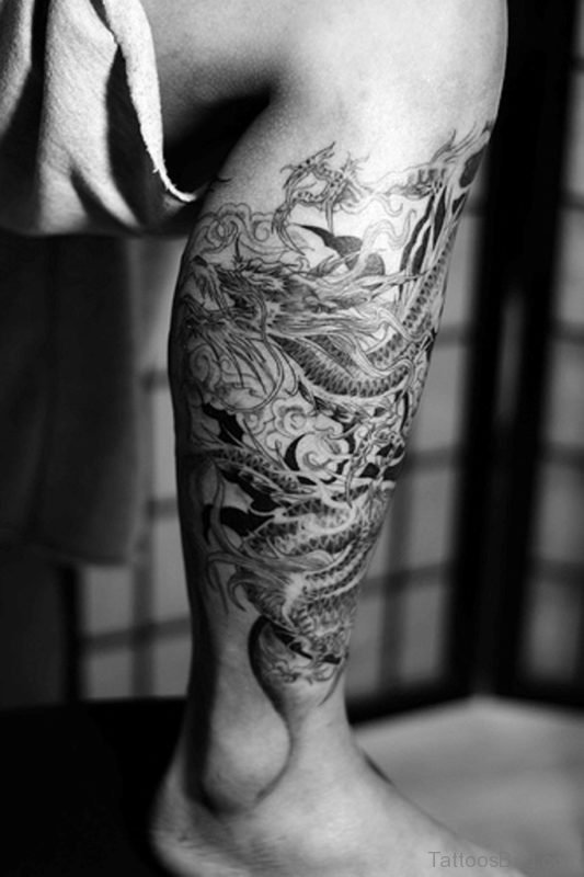 Japanese Dragon Tattoo Design On Leg