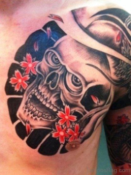 Japanese Flower Skull Tattoo