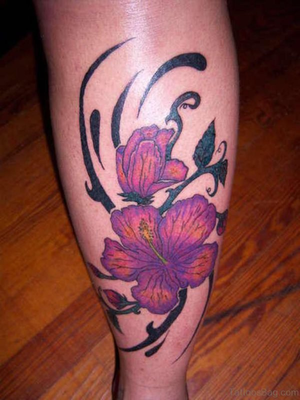 Japanese Flower Tattoo On Leg