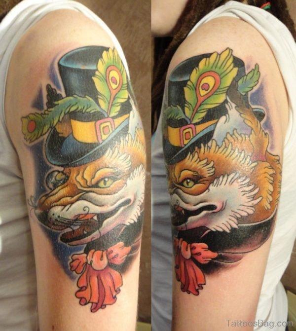 Japanese Fox Tattoo On Shoulder