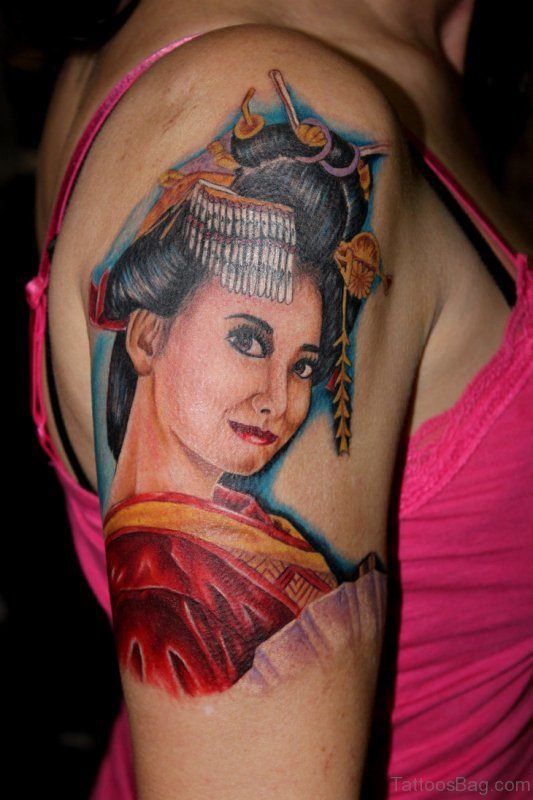 Japanese Geisha Ghost Tattoo On Shoulder