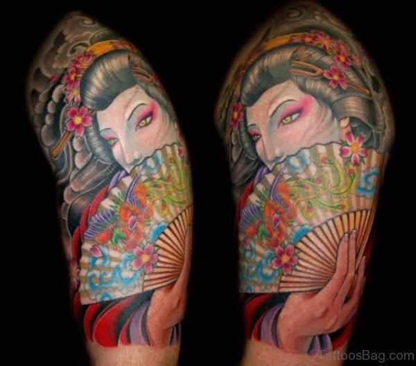Japanese Geisha Shoulder Tattoo Design