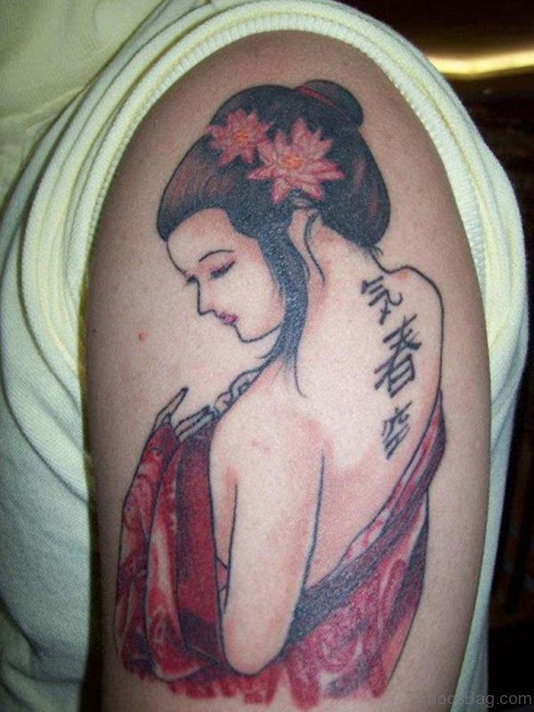 Japanese Geisha Tattoo For Men On Shoulder