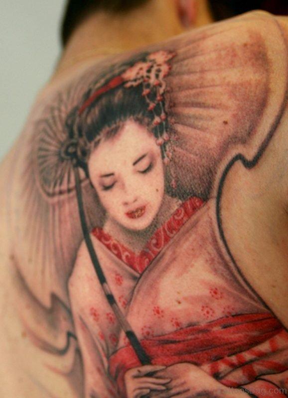 Japanese Geisha Tattoo On Back For Men
