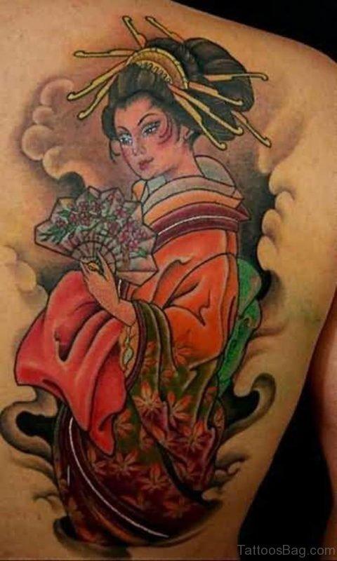 Japanese Geisha Tattoo On Back Shoulder