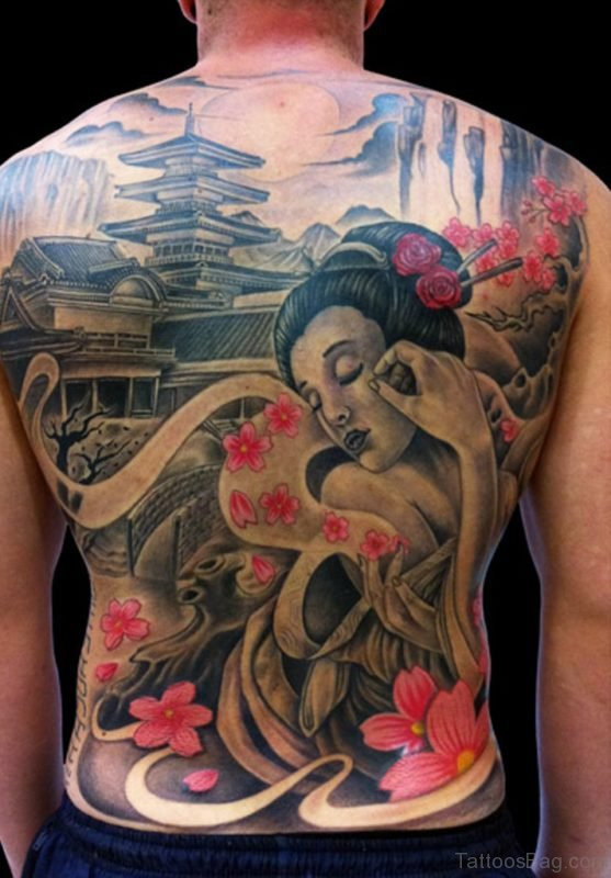 Japanese Geisha Tattoo On Full Back Image