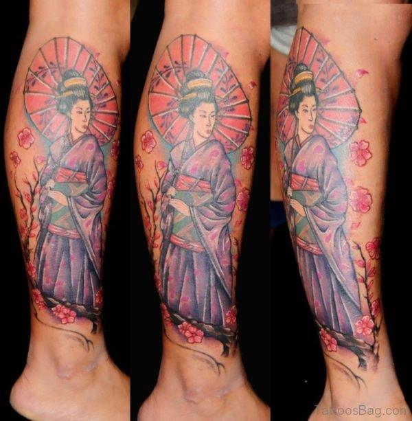 Japanese Geisha Tattoo On Lower Leg