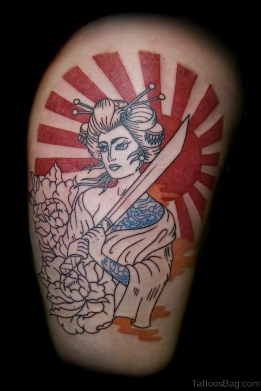 Japanese Geisha With Sword n Sun Tattoo Design