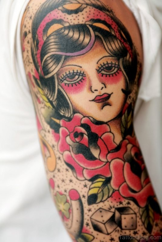 Japanese Girl Portrait Tattoo