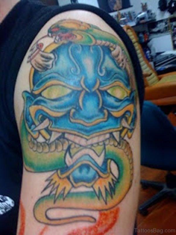 Japanese Hannya Mask Tattoo On Shoulder