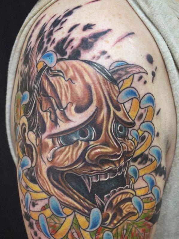 Japanese Oni Mask Tattoo On Shoulder For Men