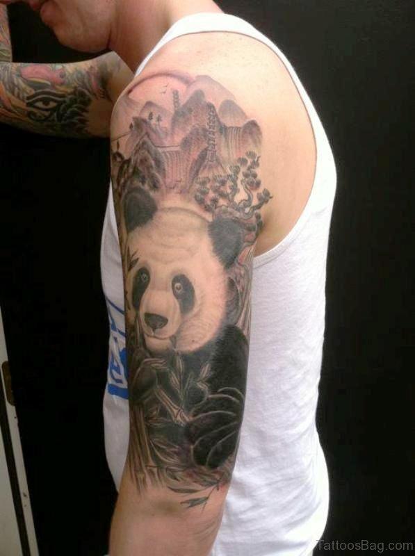 Japanese Panda Tattoo On Shoulder