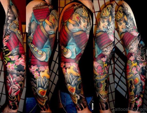 Japanese Samurai Tattoo On Man Full Sleeve