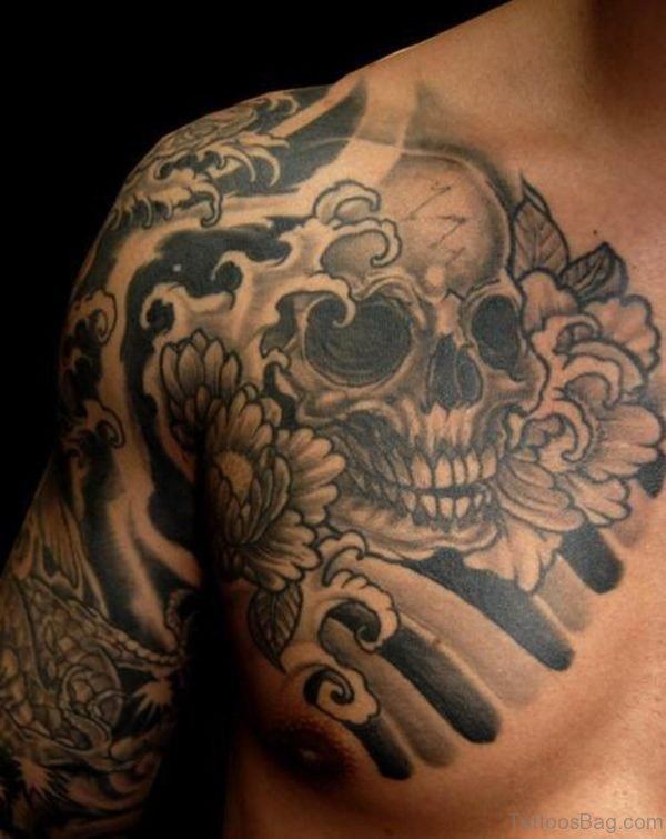 Japanese Skull and Flowers Tattoo On Chest