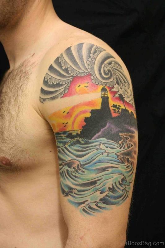 Japanese Tattoo On Man Shoulder