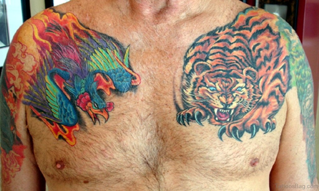 71 stylish tiger tattoo on chest for Japanese style chest tattoos