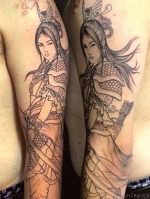 Japanese Warrior Sleeve Tattoo Design