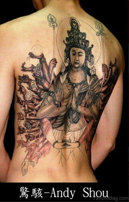 Japenese Buddha Tattoo Design On Back