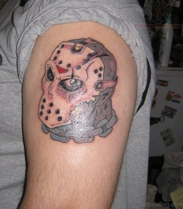 Jason Vorhees Mask Tattoo On Left Shoulder