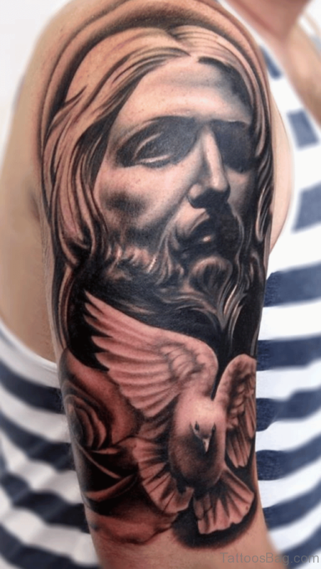 Jesus And Dove Tattoo