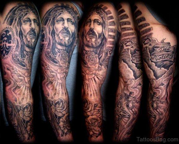 Jesus And Rose Tattoo On Full Sleeve