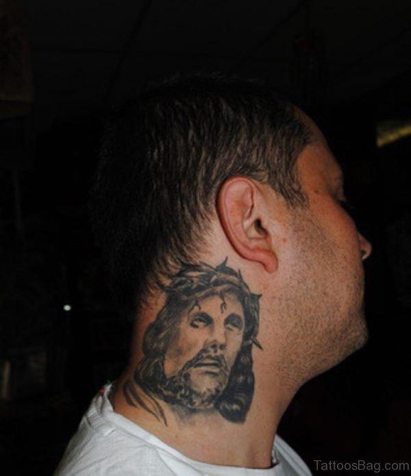 Jesus Christ Tattoo On Neck