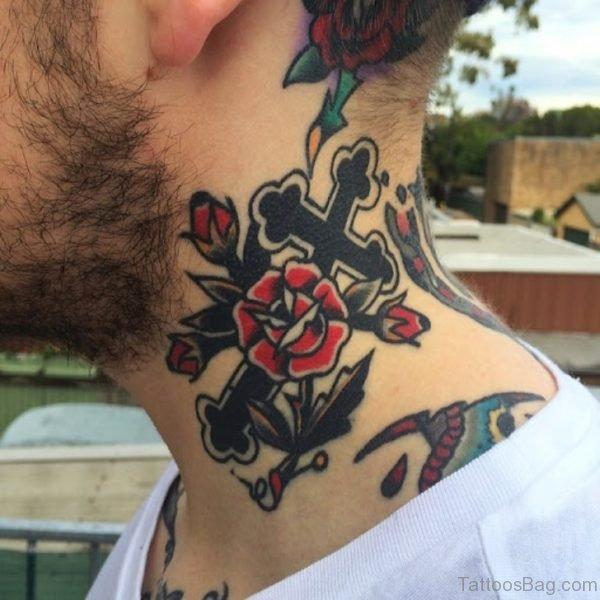 Jesus Cross Designer Tattoo On Neck