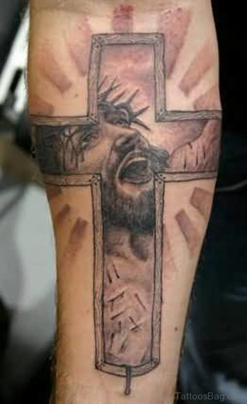 Jesus Cross Tattoo On Leg