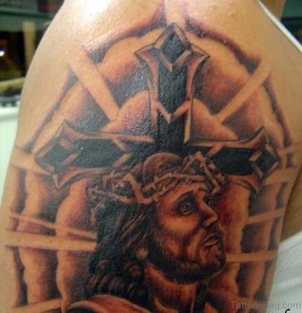 Jesus Cross Tattoo On Shoulder