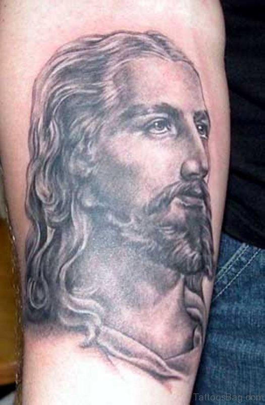 Jesus Face Tattoo On Shoulder
