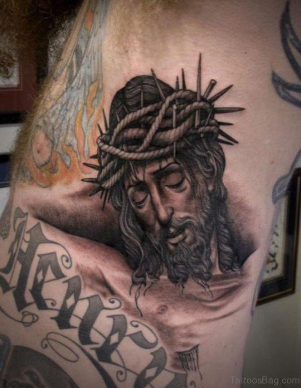 Jesus Head Angel Tattoo On Side Rib