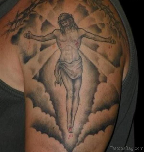Jesus In Clouds Tattoo On Shoulder