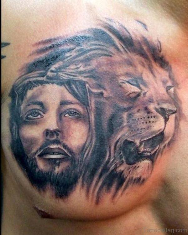 Jesus Lion Tattoo Designs on Chest