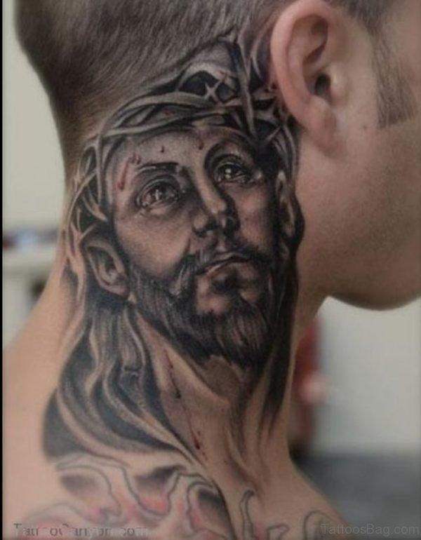 Jesus Neck Tattoo