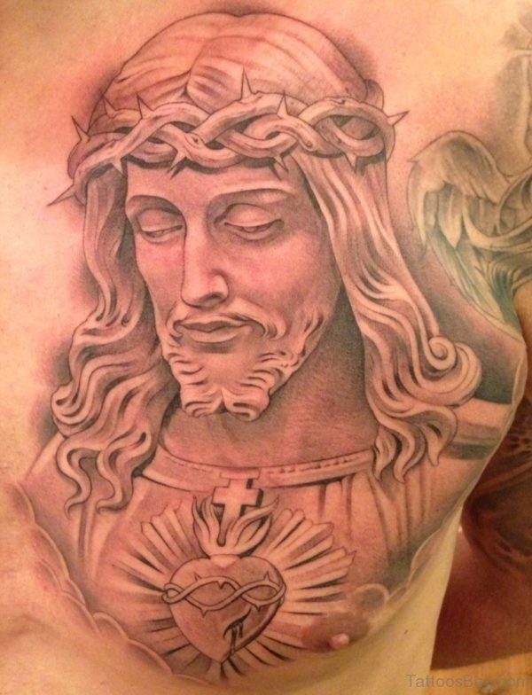 Jesus Portrait Tattoo On Ches