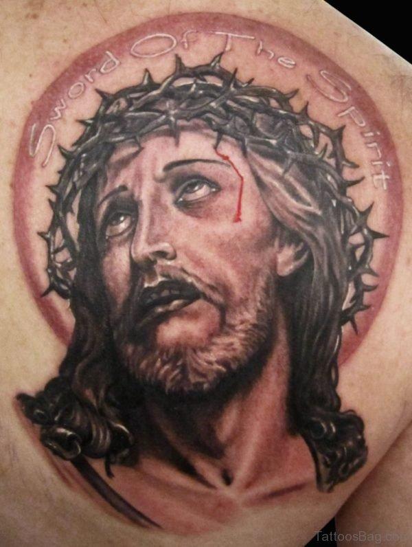 Jesus Tattoo Design On Back Shoulder