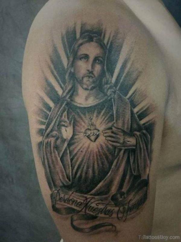 Jesus Tattoo Design On Shoulder
