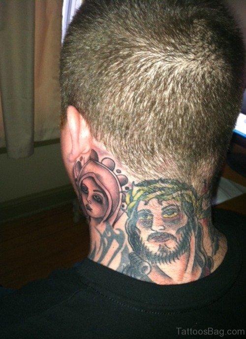 Jesus Tattoo On Back Neck