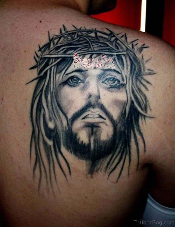 Jesus Tattoo On Back Shoulder