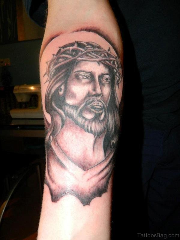 Jesus Tattoo On Elbow
