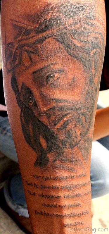 Jesus Tattoo On Full Arm
