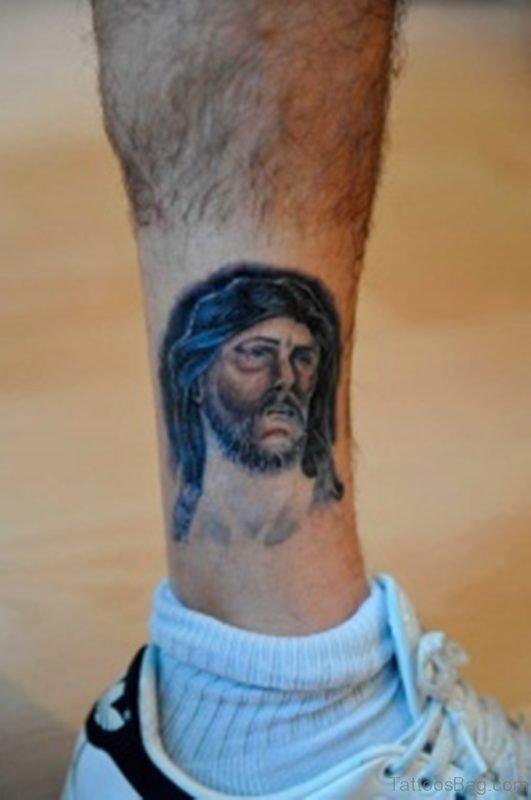 Jesus Tattoo On Leg