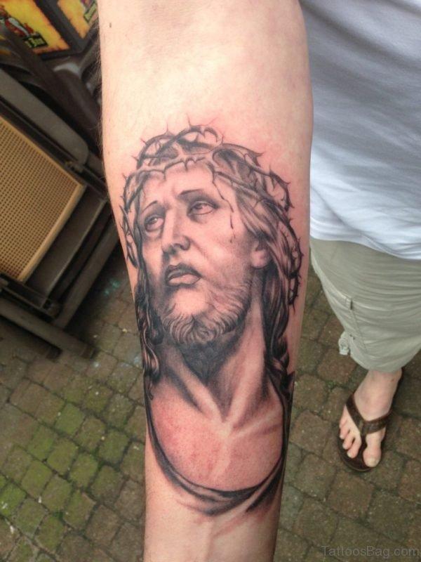 Jesus Tattoo On Lower Arm