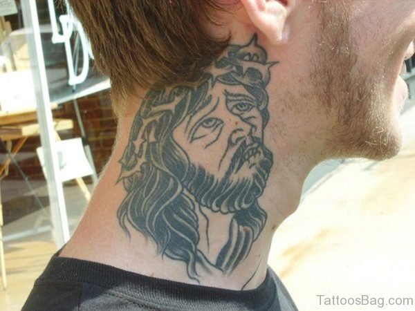 Jesus Tattoo On Neck
