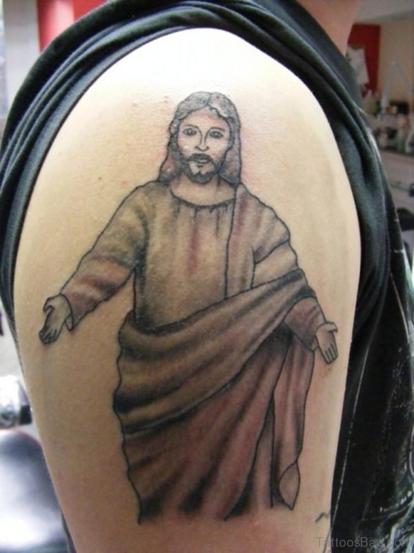 Jesus Tattoo On Right Shoulder