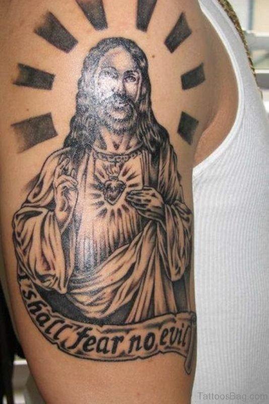 Jesus Tattoo On Shoulder