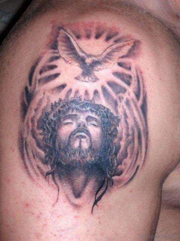 Jesus with Dove Tattoo